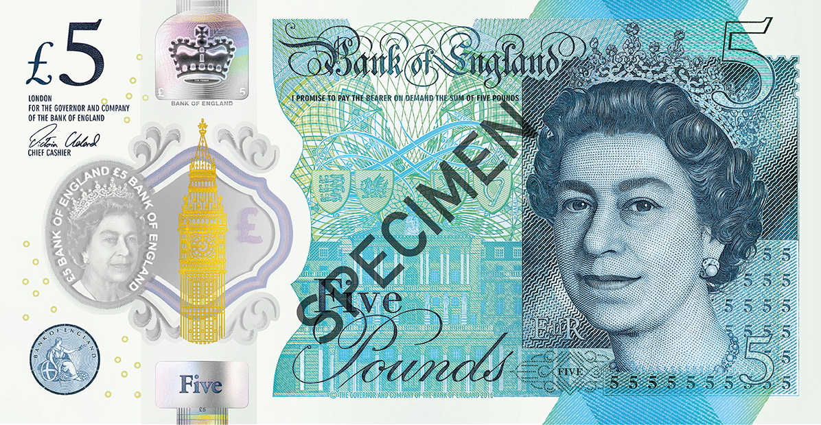 New Five Pound polymer banknote